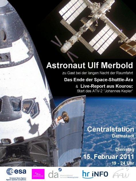 Poster zur langen Nacht der Raumfahrt am 15.2.2011, Centralstation Darmstadt, Quelle: ESA, Michael Khan