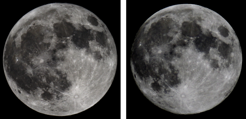 Comparison of full moon images, 127 mm/1250 mm Maksutov (left), 70 mm/420 mm Apo (right), source: Michael Khan