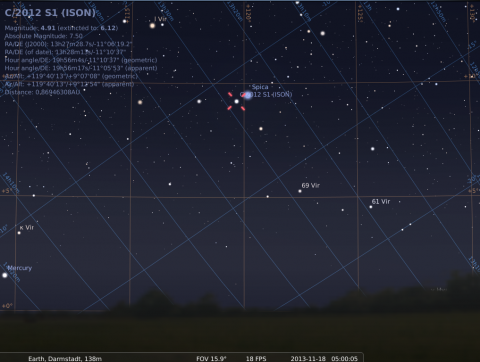 ISON and Spica at close quarters on Nov. 18, 2013, 05:00 GMT, source: Michael Khan via Stellarium