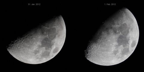 Waxing Moon seen from Darmstadt, Germany, on January 31 and February 1st, 2012, source: Michael Khan