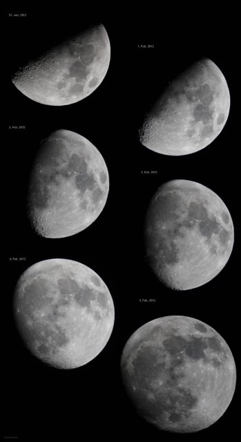 Waxing Moon from January 31 to February 5, 2012, source: Michael Khan