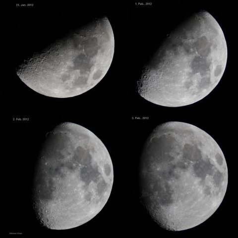 Waxing Moon in daily steps from January 31 to February 3, 2012, source: Michael Khan