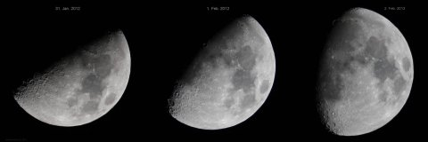 Three views of the waxing Moon from 31. January through 2 February 2012, source: Michael Khan