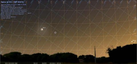 Saturn, Moon, Spica and Venus seen from Darmstadt on August 12, 2013, around 21:00 CEST (19:00 GMT), source: Michael Khan via Stellarium