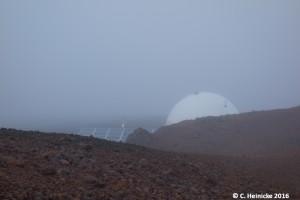 Unser Zuhause im Nebel - zum Glückk finden wir die Kuppel auch in der Nacht und mit Sichtweiten von unter einem Meter wieder. Unser Zeitempfinden ist leider nicht ganz so treffsicher...