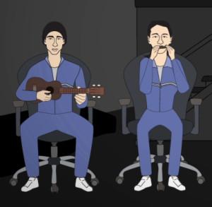 Cyprien mit Ukulele und ich auf der Mundharmonika: So werden wir in einem Video dargestellt, das Quartz über unsere Mission erstellt hat.