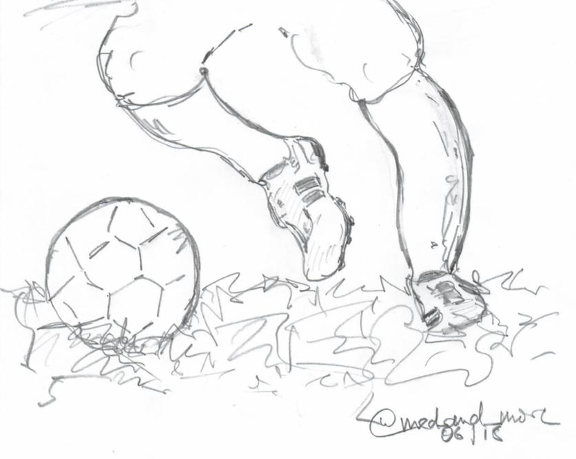 Fussball! Bleistift auf Papier by Karin Schumacher (@med_and_more)