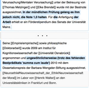 Auszug aus dem Changelog meines Wikipedia-Eintrags vom 27. Juni 2013, als ich in einem Diskussionsforum die Sichtweise des Akademikers Peter Riedlberger kritisierte. Die hier eingefügten Informationen (blau hinterlegt) sind teilweise falsch und sollten wohl mein akademisches Ansehen schmälern. Sie wurden jedoch als unsachlich von der Qualitätskontrolle der Wikipedia-Community entfernt.