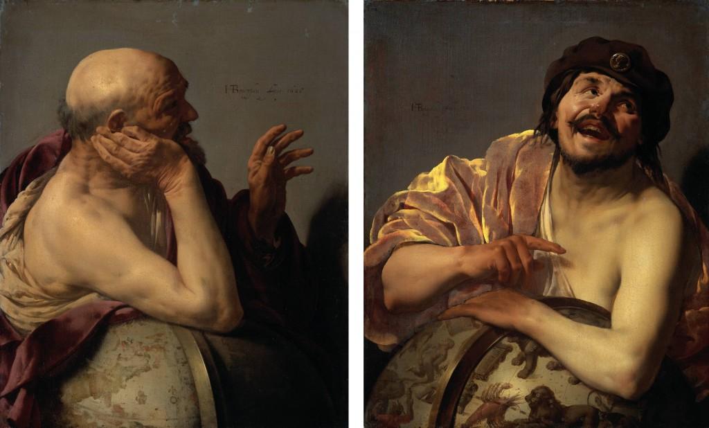 Heraklit (über die Welt weinend, links) und Demokrit (über die Welt lachend, rechts) waren seit dem Barock beliebte künstlerische Motive. Diese beiden Ölgemälde von Hendrik ter Brugghen aus dem Jahr 1628 hängen im Rijksmuseum in Amsterdam.
