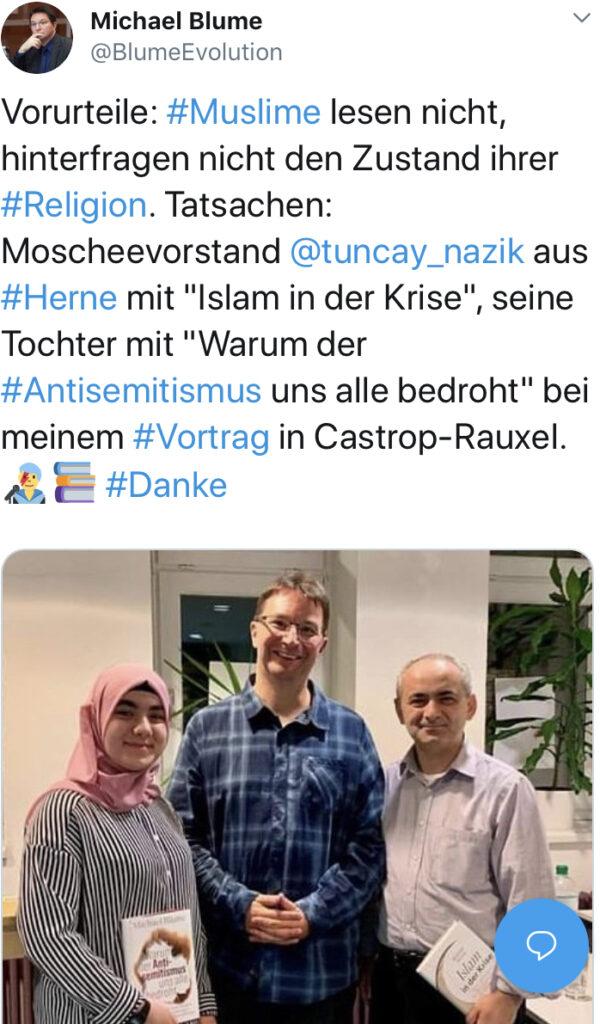 Interreligiöser Tweet nach einem Vortrag bei der VHS Castrop-Rauxel.