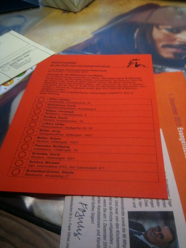 Wahlunterlagen zur Synodal- und Kirchengemeinderatswahl der Evangelischen Landeskirche Württemberg 2013