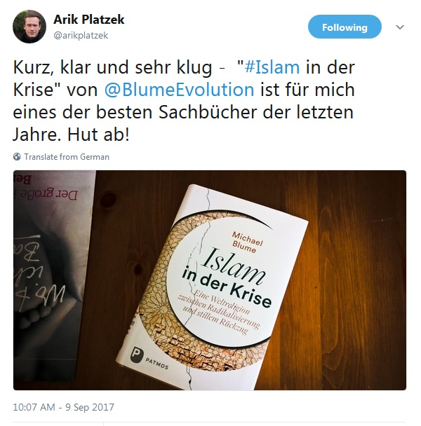 Positive Rückmeldungen von 2017. Screenshot: Michael Blume