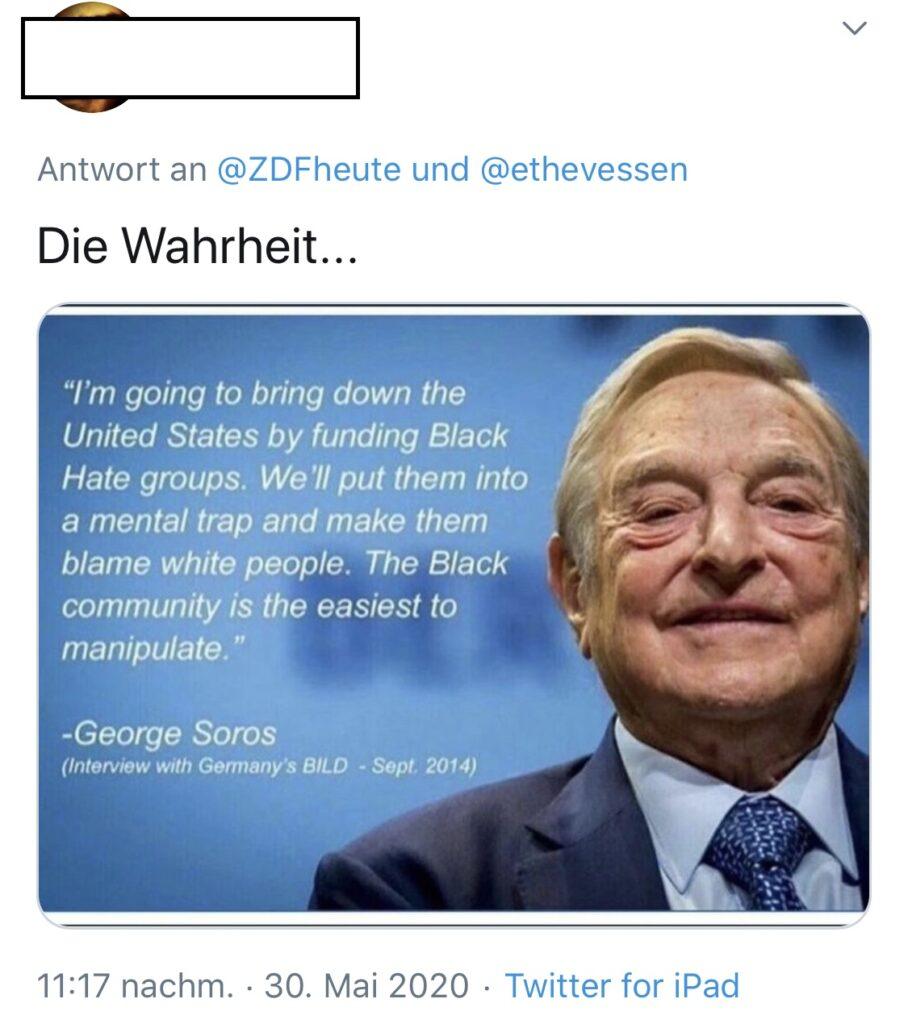 Antisemitisch-rassistischer Tweet vom 30.5.2020