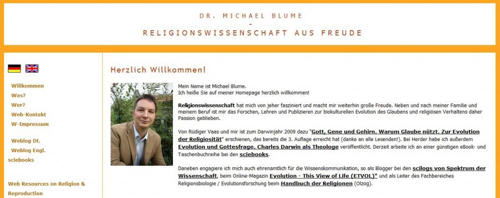 Screenshot der Homepage von Dr. Michael Blume, www.blume-religionswissenschaft.de