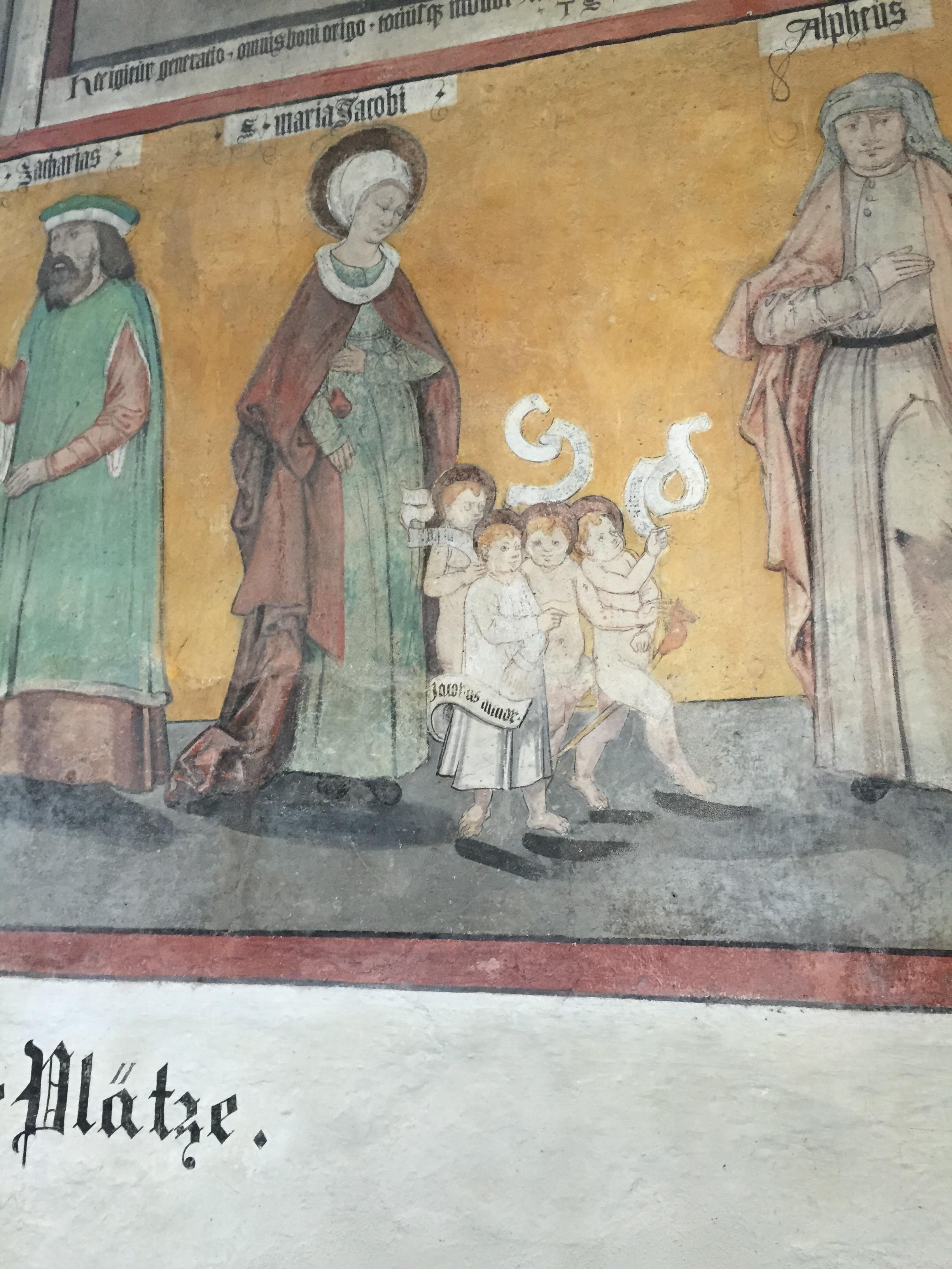 Mittelalterliches Fresko in der Peterskirche Weilheim Teck
