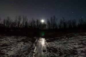 Mondaufgang über Setzungsriss