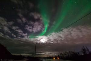 Der Mond stört bei derart starker Aurora gar nicht!