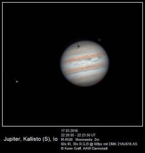 Jupiter, Kallisto und Io, sowie eine Sonnenfinsternis