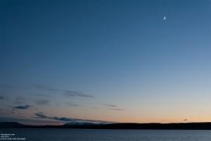 Der Mond über dem Yellowstone Lake