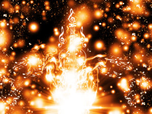 Violin silhouette made from music notes on background with glowing sparks.