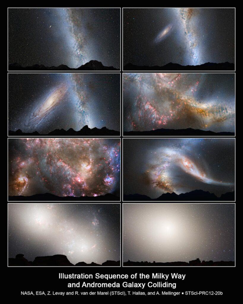 Verschiedene Schnappschüsse der Verschmelzung der Galaxien.