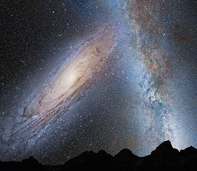 Die Kollision zwischen der Milchstrasse und der Andromeda Galaxie führt zu deren Verschmelzung.