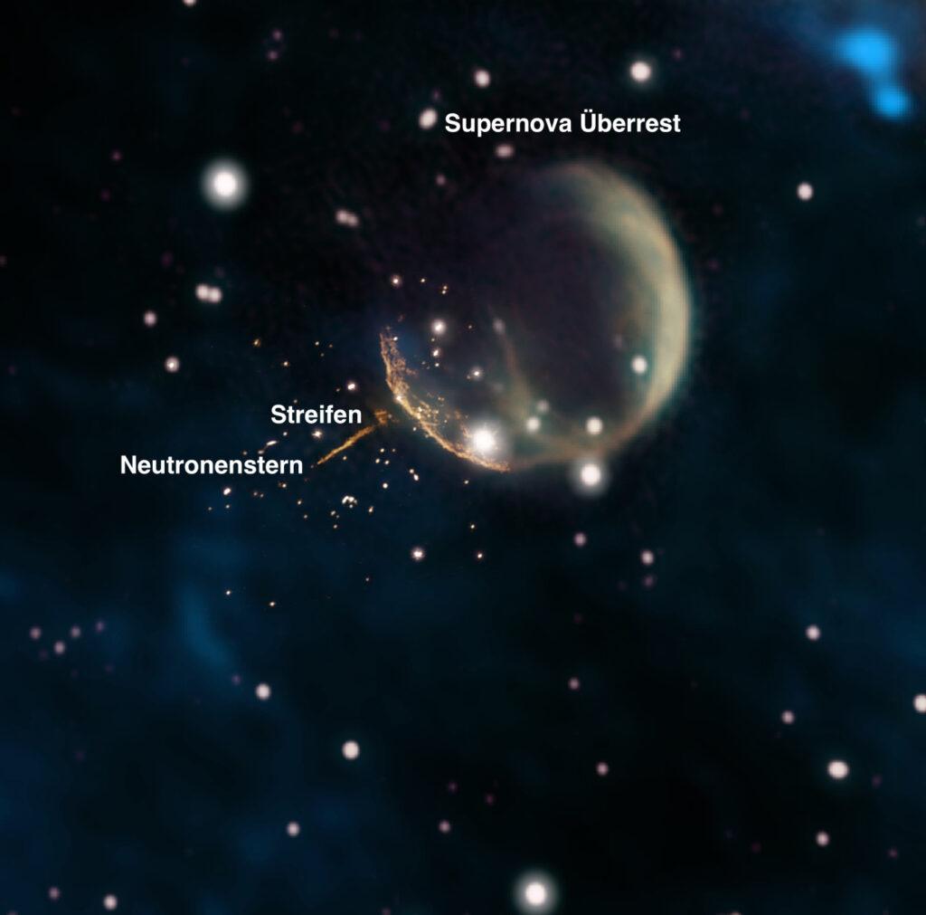 Neutronenstern und Sternschale.