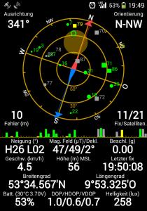 Ein Screenshot vom GPS-Status meines Handys