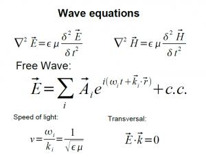 Aus den Maxwell-Gleichungen lässt sich eine Wellengleichung ableiten. In ihr ergibt sich die Lichtgeschwindigkeit aus den Konstanten Epsilon und My. Epsilon wird bei Kopplung der Welle an ein Medium modifiziert, so dass die Wellengeschwindigkeit kleiner oder größer als im Vakuum sein kann.