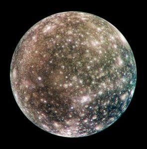 Rund: Der Jupitermond Callisto. Bild: NASA/JPL/DLR
