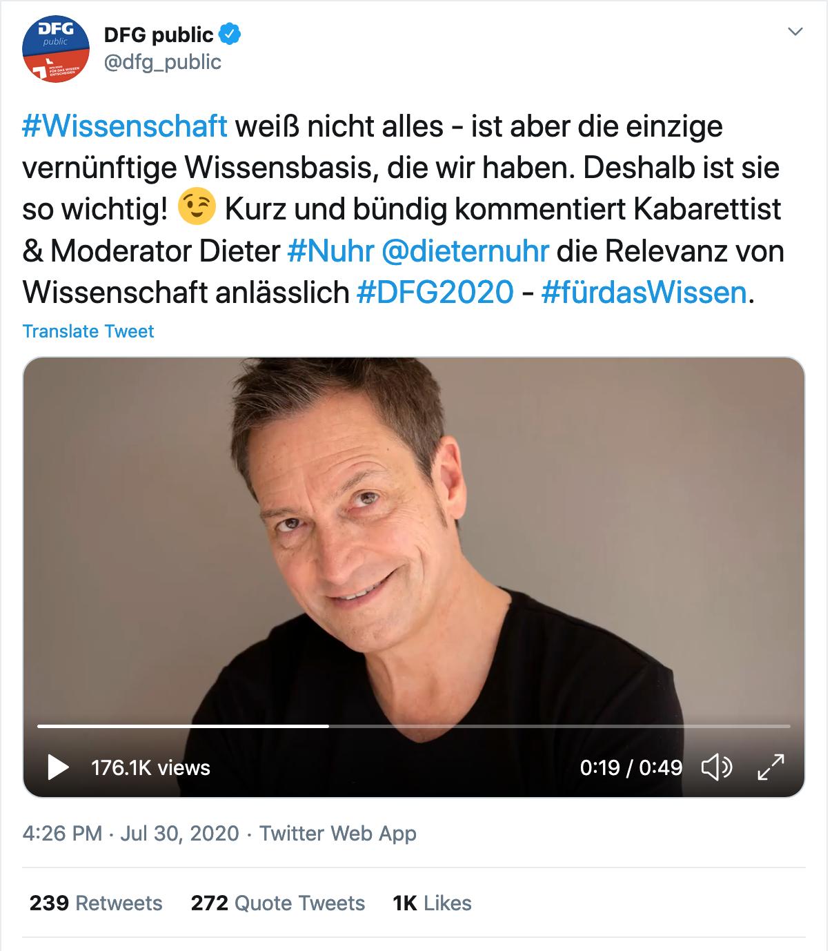 Screenshot des Tweets der Deutschen Forschungsgemeinschaft, in dem die Organisation den Beitrag von Dieter Nuhr zu ihrem Jubiläumsjahr bewirbt. Anlass für viele kritische Tweets, die im Nachhinein von einigen Kommentator*innen als Shitstorm abgetan wurde.