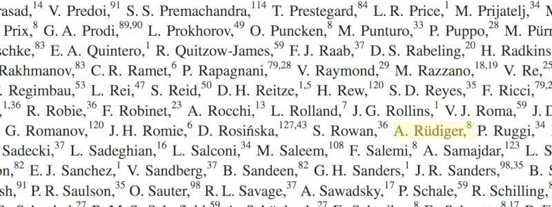 Albrecht Rüdiger in der Autorenliste des Entdeckungs-Papiers für GW150914