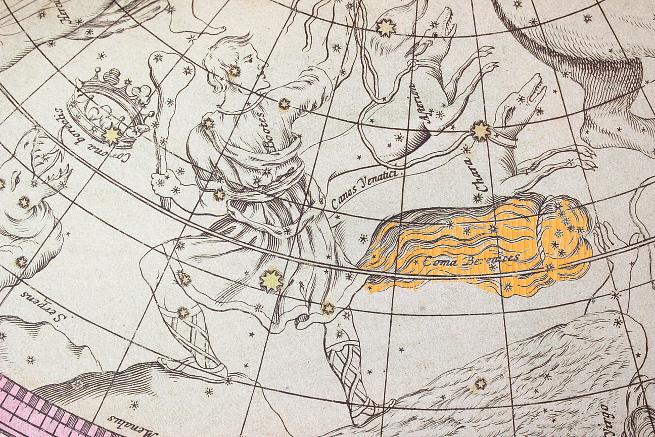 Sternbild Coma im Doppelmayer-Atlas (nachbearbeitetes Detail von einem Foto des Faksimile-Prints aus dem Albireo-Verlag)
