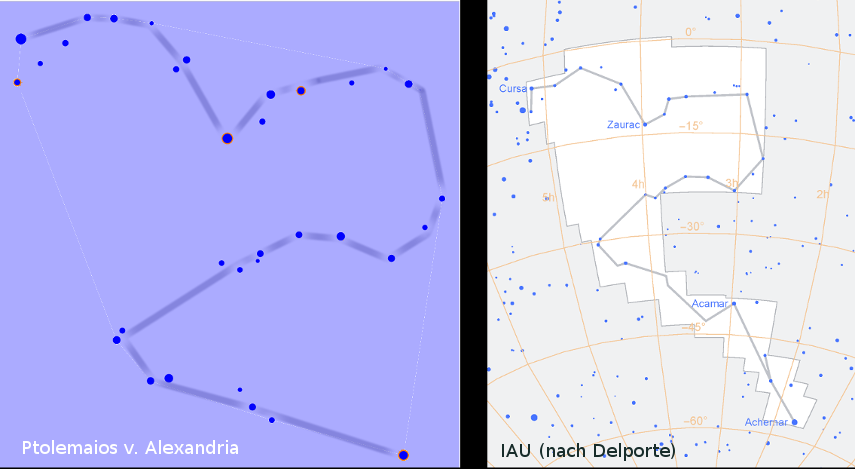 Sternbild Eridanus, definiert seit mehr als 2000 Jahren
