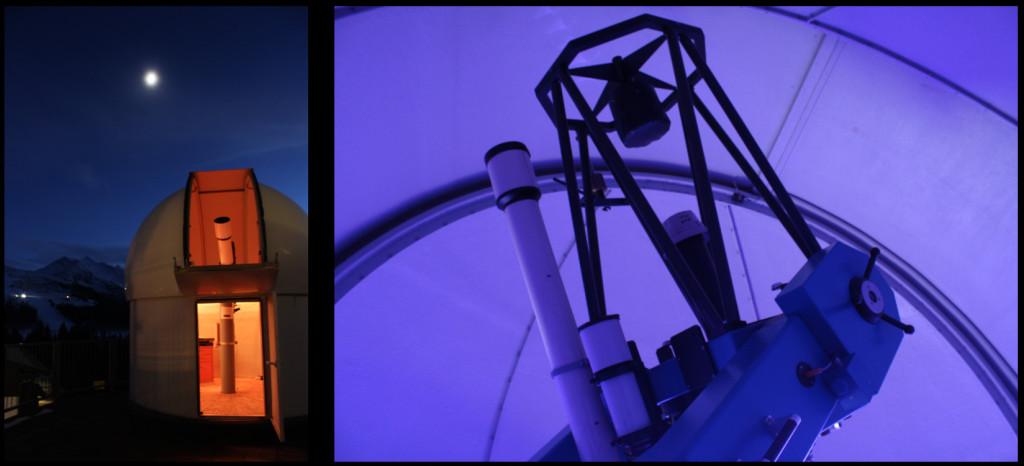 Instrumente in den Sternwartenkuppeln: ein 8-Zoll-Zeissrefraktor und ein 60 cm-Cassegrainspiegel, gebaut von dem Münchner Hobbyastronomen und Teleskopkonstrukteur Manfred Mauz
