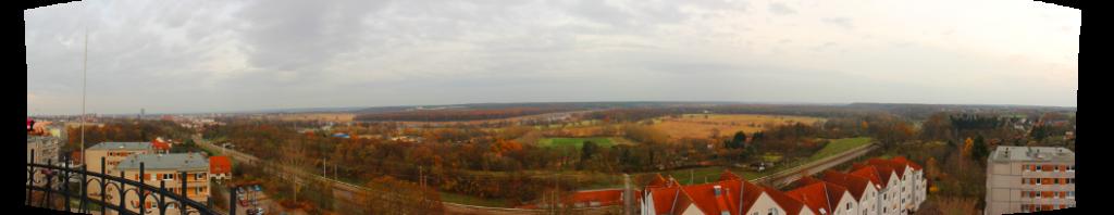 Blick über die Oder von der Aussichtsplattform des Wasserturms