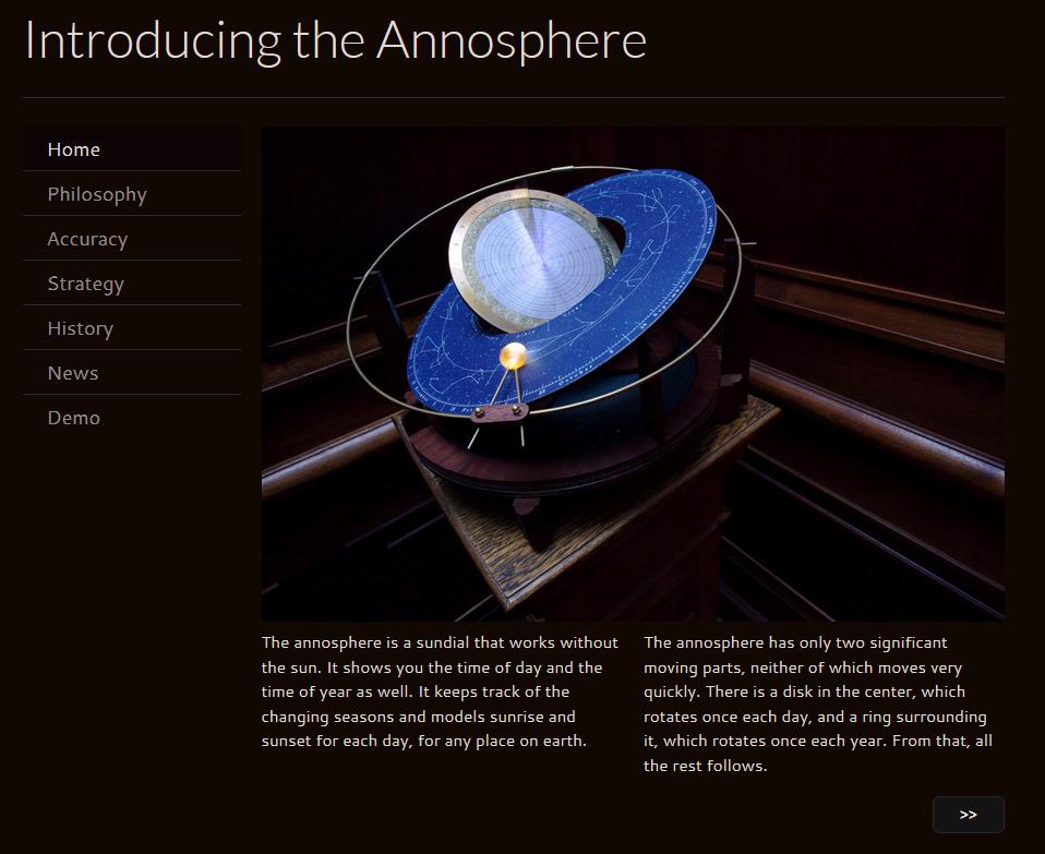 Screenshot der Webseite über das Instrument.