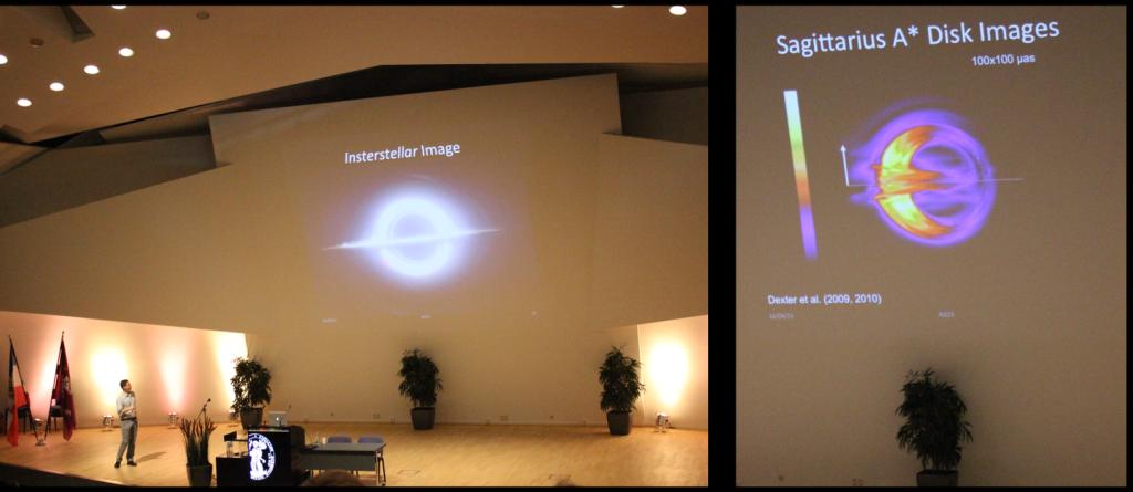 Gegenüberstellung Hollywood-Budget und Scientific Budget-Visualisierung eines Schwarzen Lochs.