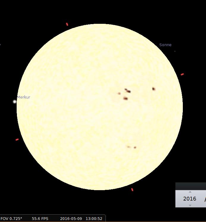 Merkur ca. beim ersten Kontakt, simuliert mit Stellarium. Für Nürnberg, Eintritt gegen Mittag, ca. 13 Uhr.