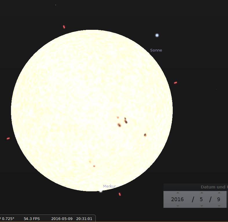 Merkurtransit 2016, Austritt ca halb neun, (20:30 Uhr) am Abend. Bitte Kontaktzeiten messen und Beobachtungsposition dazu notieren! :-)
