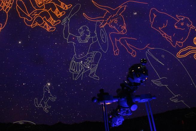 Noch einmal durfte Orion im Winter 2015 seine Keule über dem Königsleitener Projektor schwingen.