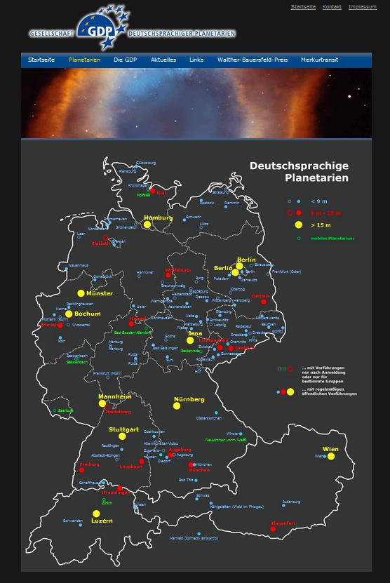 Verteilung der Klein- und Großplanetarien im deutschsprachigen Raum - Grafik von der GDP-Webseite.