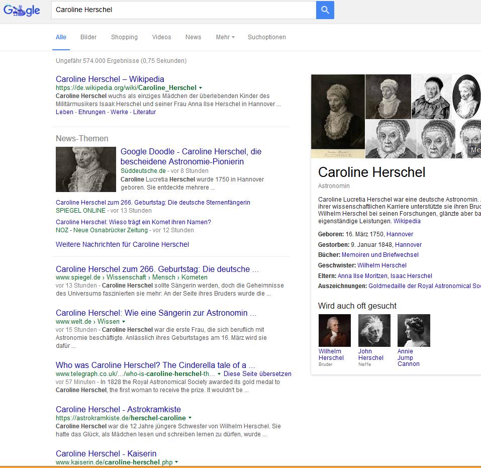 Screenshot der Google-Suche heute Abend mit Klick auf das Google-Doodle: Man sieht, die Weltpresse hat reagiert.