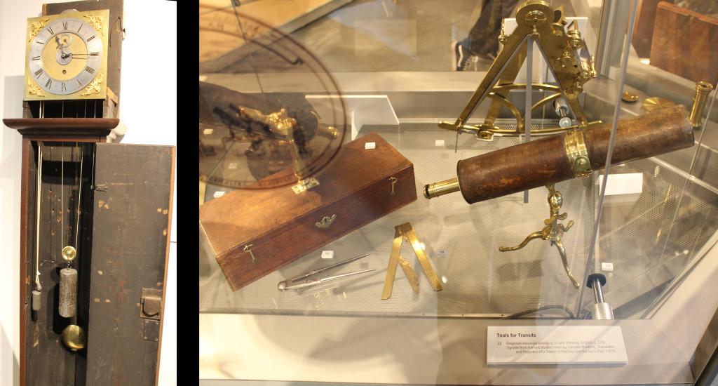 links die erste amerikanische Hochpräzisionsuhr, die übrigens beim Venustransit 1761 zum Einsatz kam. Daneben steht im Museum die nächste Generation der Venustransit-Pendeluhr von 1769. Während die erste eine Acht-Tage-Uhr ist, hält die zweite schon einen Monat durch, ohne, dass man sie stellen muss.