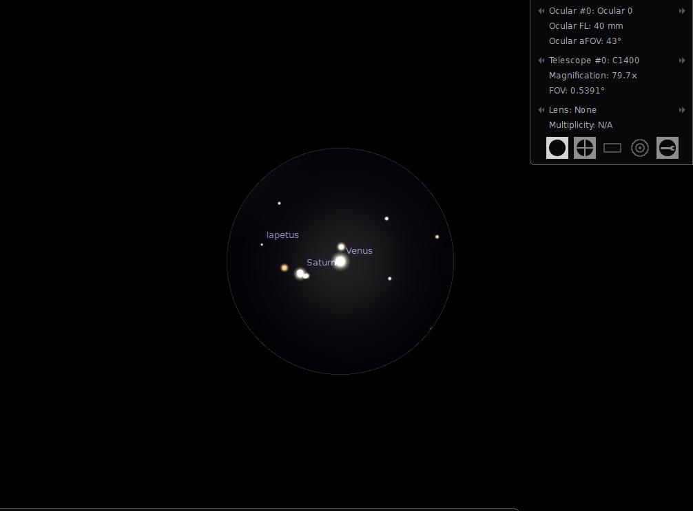Freeware Stellarium zeigt die Okularansicht der Konjunktion.