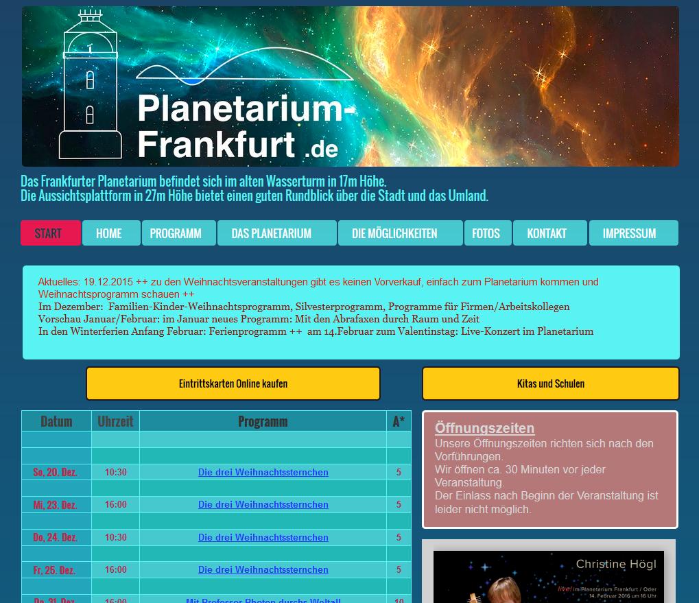Auf der Startseite der Webseite erscheint sofort das Programm.