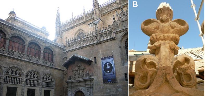 Links: Capilla Real, Granada By Antonio Herrera CC BY-SA 3.0 es, via Wikimedia Commons; Rechts: Detailansicht, via doi:10.1371/journal.pone.0132465
