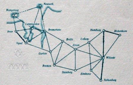 Aus aneinandergereihten Dreiecken gebildetes Vermessungsnetz von Gauß (Detail des 10-DM-Scheins)