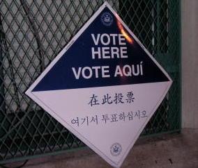 Wahlhinweis in Queens, New York City