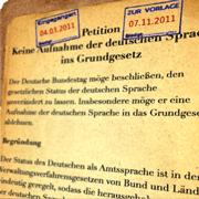 Petition Keine Aufnahme der deutschen Sprache ins Grundgesetz